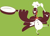 Vector illustration – Happy Thanksgiving Holiday Turkey Chef Cooking.