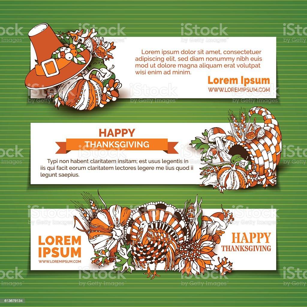 Happy Thanksgiving horizontal banner templates. vector art illustration