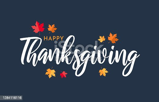 istock Happy Thanksgiving lettering background with leafs. Vector 1284116116