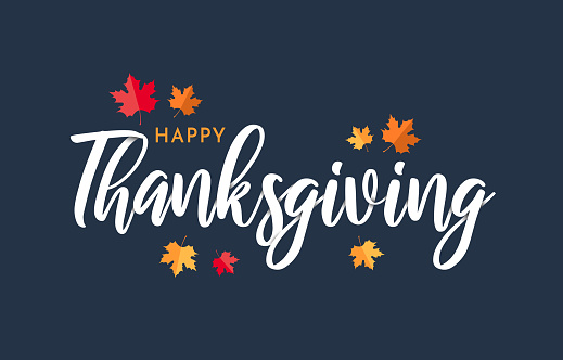 Happy Thanksgiving lettering background with leafs. Vector