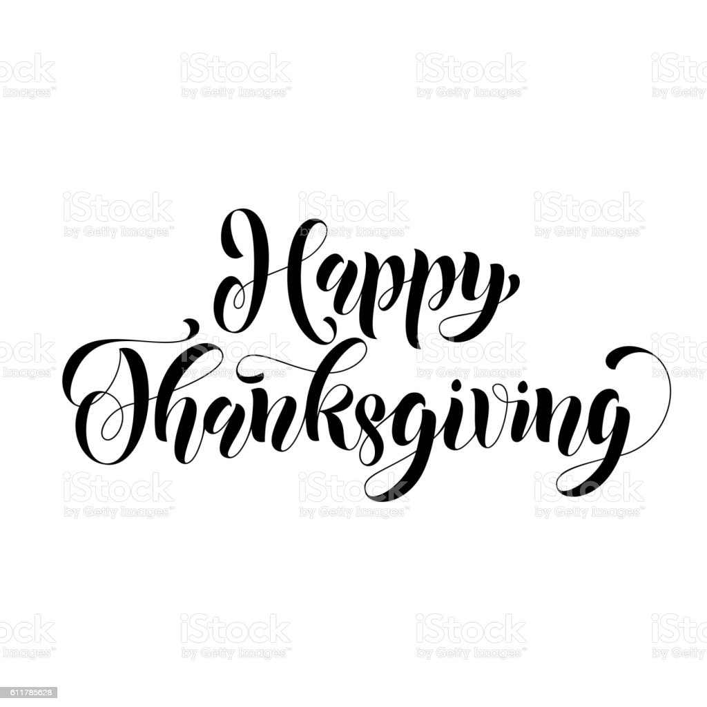 Happy Thanksgiving Lettering Greeting Card Royalty Free Stock Vector Art