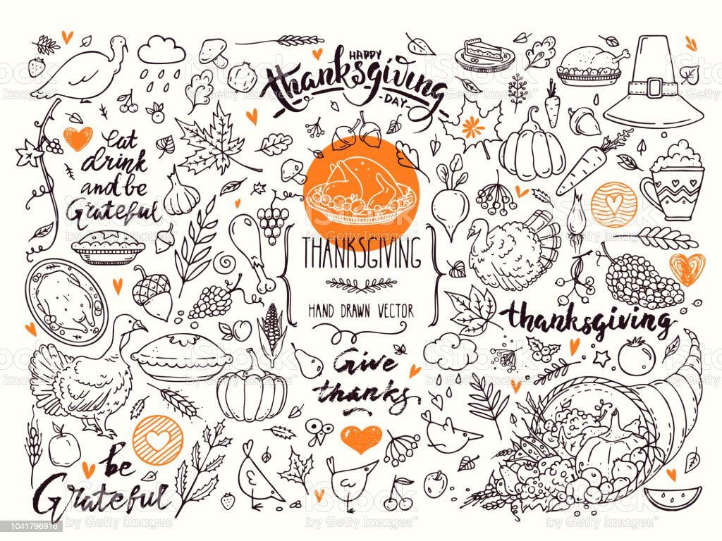 happy thanksgiving linear illustrations lettering clipart collection