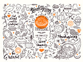 Thanksgiving traditional symbols. Hand drawn doodle style illustrations, handwritten lettering. Vector collection for congratulation cards. Festive quotes Happy Thanksgiving, Give Thanks, Be Grateful.