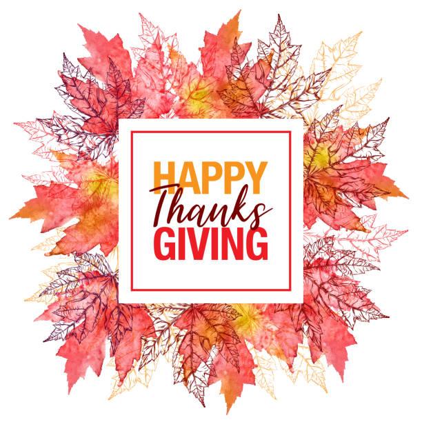 快樂感恩節楓葉向量水彩和墨水圓形圖案與複製空間 - happy thanksgiving 幅插畫檔、美工圖案、卡通及圖標