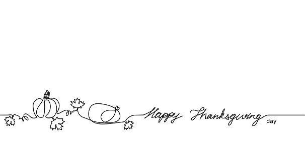Happy Thanksgiving one continuous single line vector illustration. Pumpkin, maple leaves, turkey. Canada Thanksgiving holiday web banner,simple background