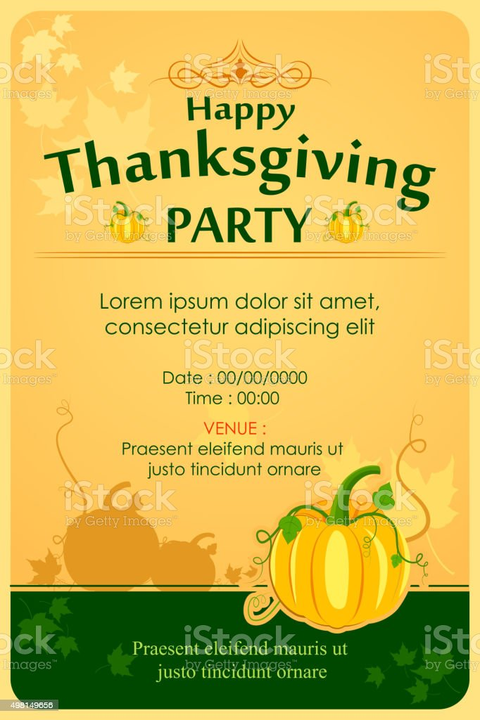 Happy Thanksgiving Party Invitation Background stock vector art ...