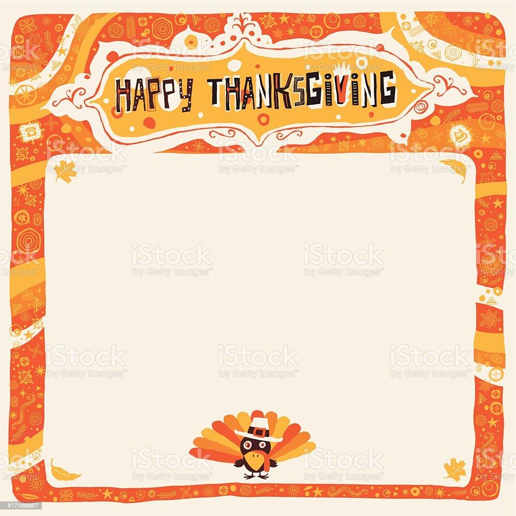 Happy Thanksgiving postcard, poster, background, ornament or invitation. vector art illustration
