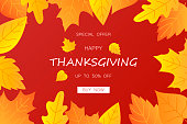 Happy Thanksgiving poster. Text with autumn leaves for poster, banner. Vector illustration