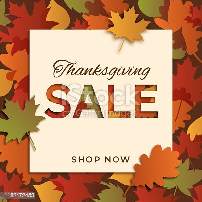 Happy thanksgiving promotional sale design for advertising, banners, leaflets and flyers. Stock illustration