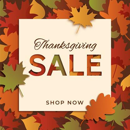 Happy thanksgiving promotional sale design. Stock illustration