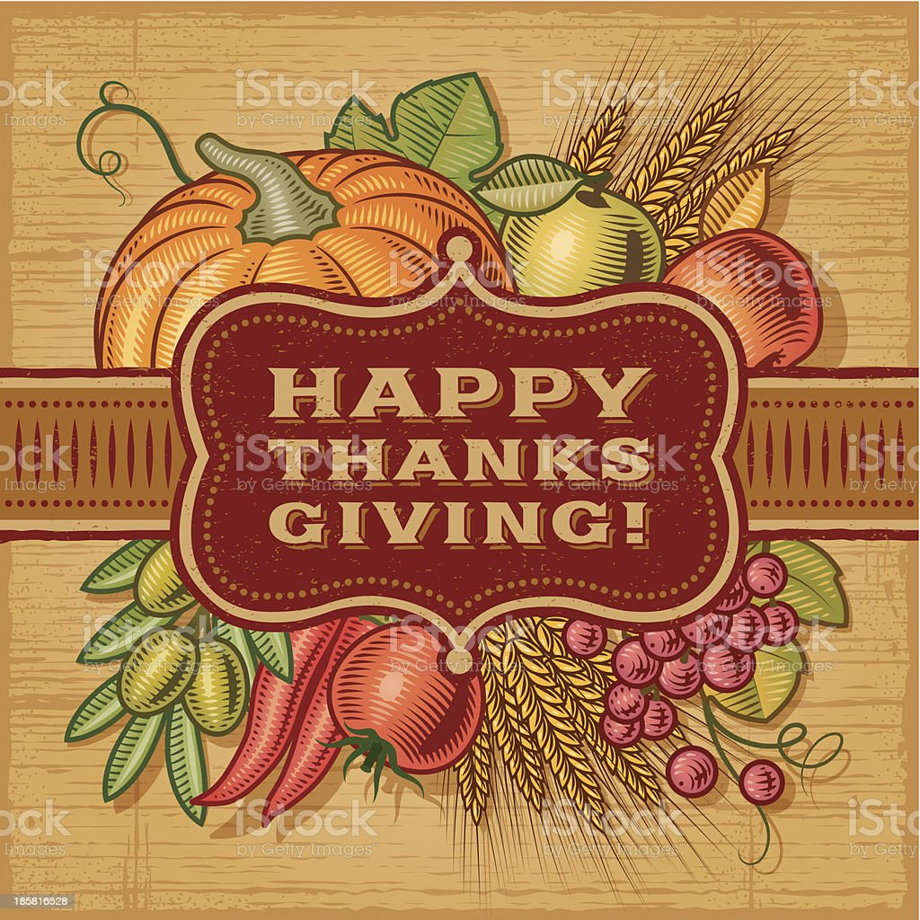 Happy Thanksgiving Retro Card royalty-free stock vector art