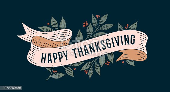 istock Happy Thanksgiving. Retro greeting card 1272769436