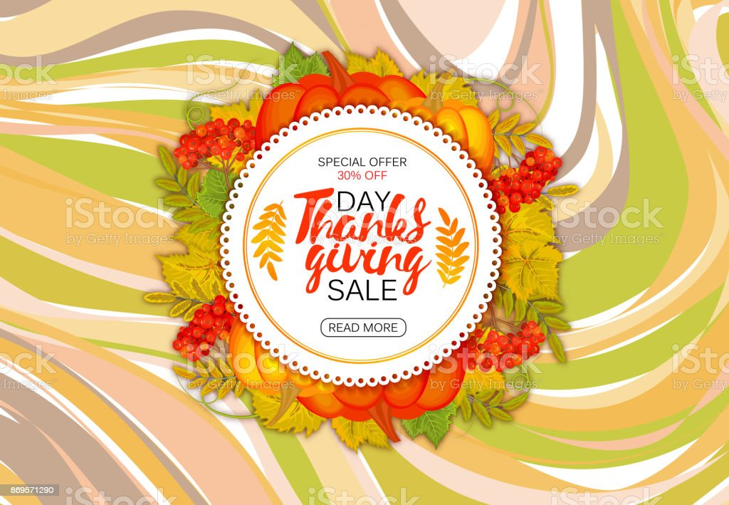 Happy Thanksgiving sale round banner, sticker, tag or label decorated with maple leaves and pumpkin. Vector. marble background. Autumn colors vector art illustration