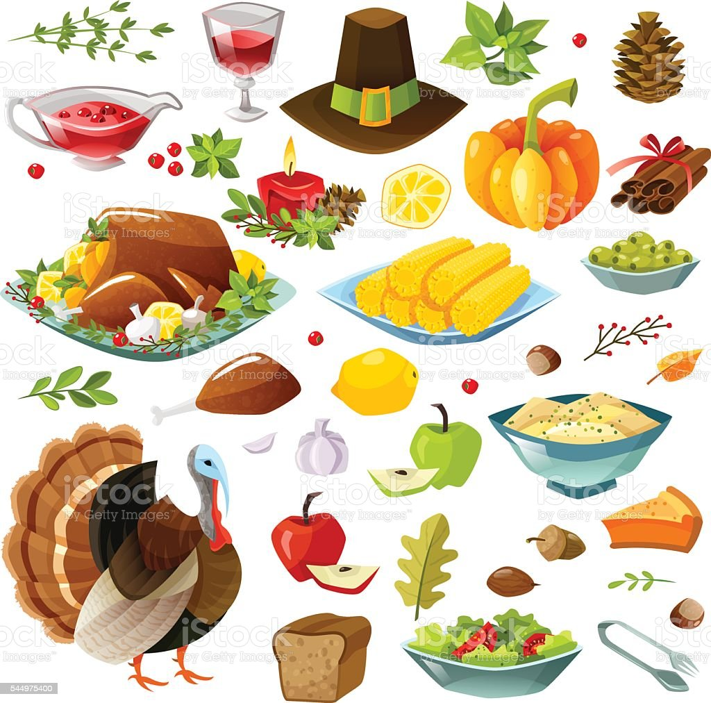 Happy thanksgiving set vector art illustration