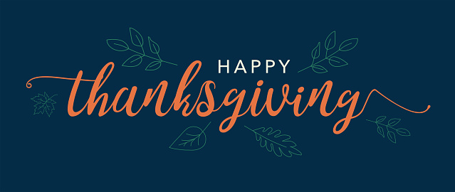Happy Thanksgiving Text Vector Banner with Leaves and Blue Background