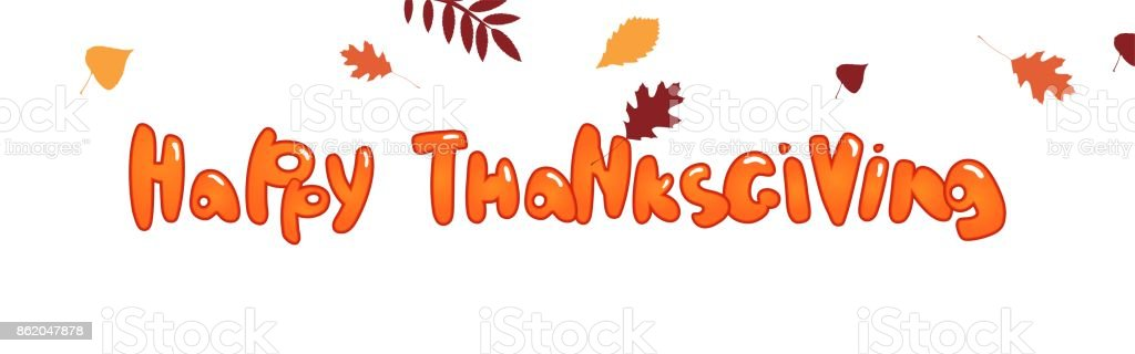 Happy thanksgiving text. vector art illustration