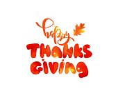Happy thanksgiving text. Happy thanksgiving cute typography poster. Vector illustration