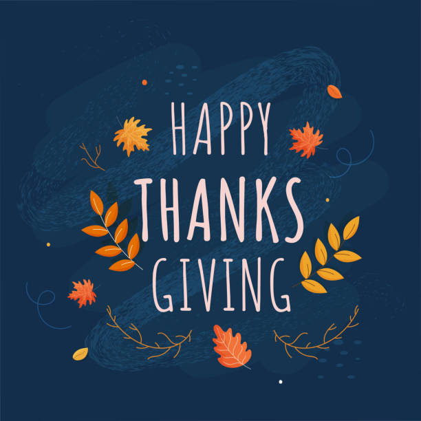 Happy Thanksgiving Text with Autumn Leaves and Noise Brush Effect on Blue Background. vector art illustration