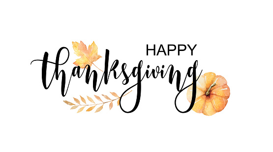 Happy thanksgiving text with vector watercolor autumn leaves and branches isolated on white background.