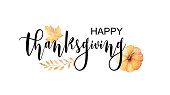 Happy thanksgiving text with vector watercolor autumn leaves and branches isolated on white background. Autumn illustration for greeting cards, quote and decorations. Hand drawn lettering.