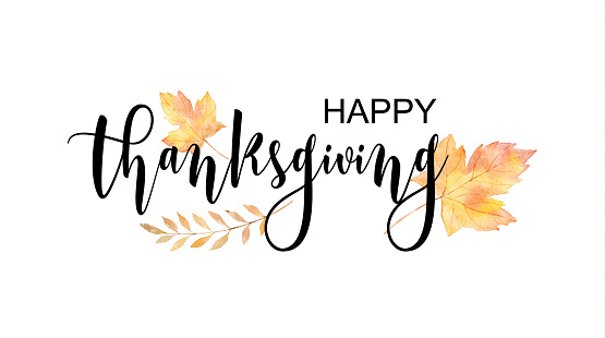 Happy thanksgiving text with watercolor autumn leaves and branches isolated on white background.