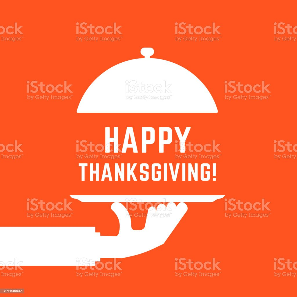 happy thanksgiving text with white serving hand