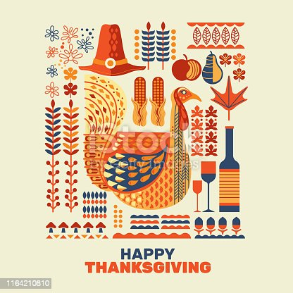Happy Thanksgiving turkeys and decoration with design element set. Great for greeting card, decoration, graphic element and poster
