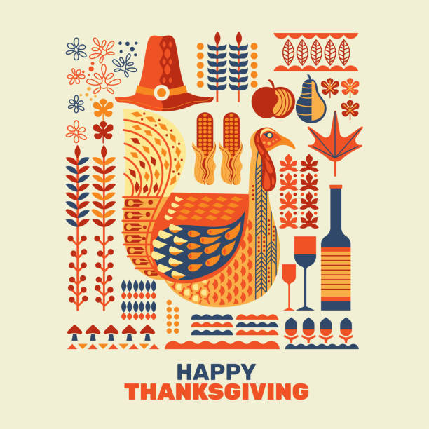 happy thanksgiving turkeys and decoration with design element set - thanksgiving dinner stock illustrations