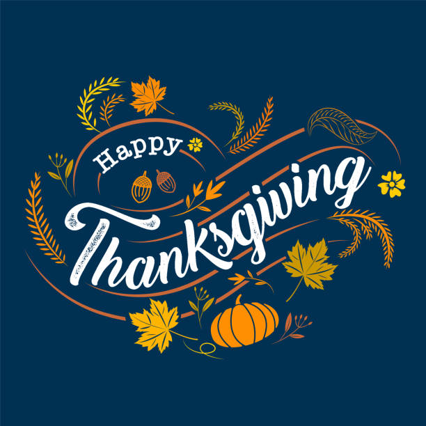 happy thanksgiving, typographic, caligraphy, type , vector - thanksgiving turkey stock illustrations