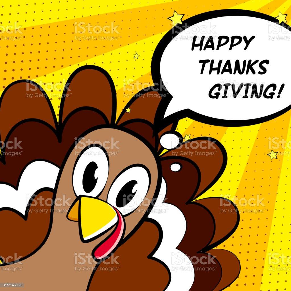 幸せな感謝祭ベクトル カード漫画トルコ。コミック スタイル。 ベクターアートイラスト
