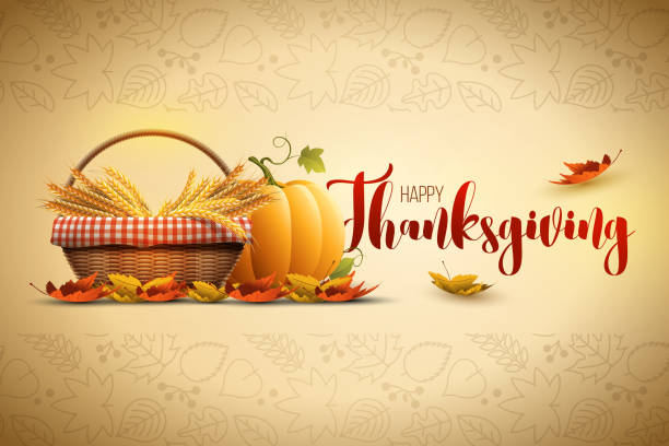 Happy Thanksgiving Vector autumn Happy Thanksgiving poster design template. Elements are layered separately in vector file. harvesting stock illustrations