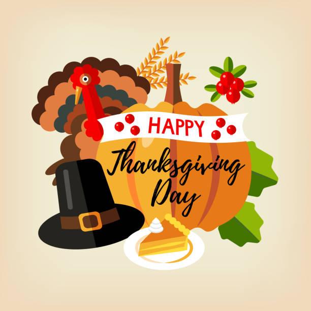 happy thanksgiving. - pumpkin pie stock illustrations