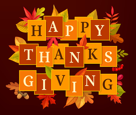 Happy Thanksgiving vector poster, autumn leaves