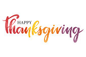 "Vector hand drawn watercolor ""Happy Thanksgiving"" inscription."