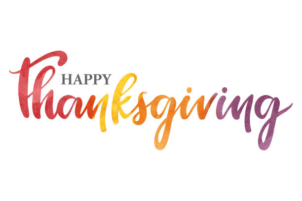 Happy Thanksgiving watercolor typography vector art illustration