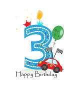 Happy third birthday candle. Baby boy greeting card with race car