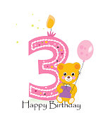 Happy third birthday candle. Baby girl birthday greeting card with teddy bear