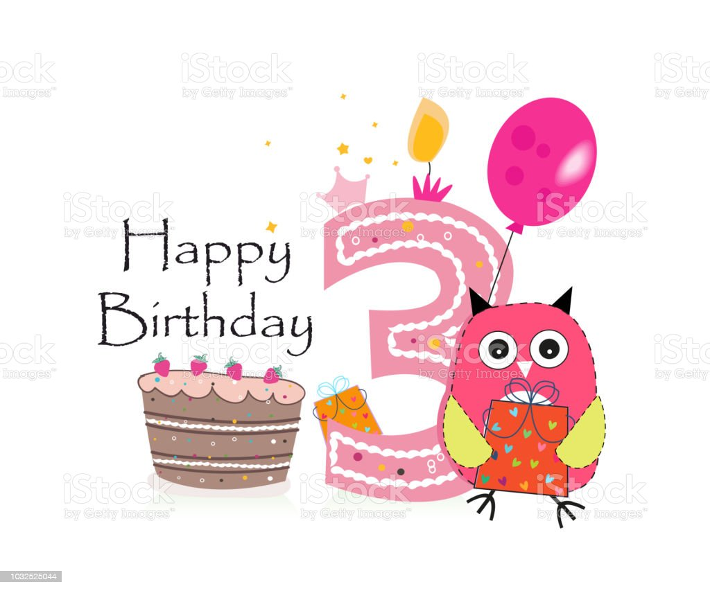 Happy Third Birthday Greeting Card Cute Pink Owl Balloon And