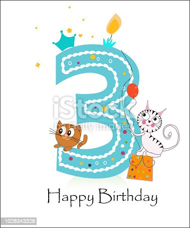 Happy Third Birthday With Cute Cats Baby Boy Greeting Card Stock