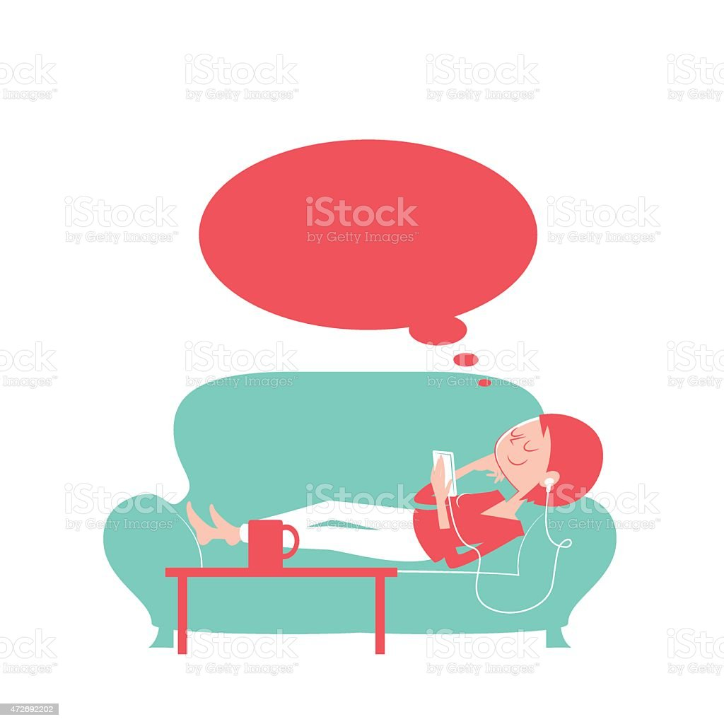 Happy thoughtful woman using smart phone lying on the sofa vector art illustration