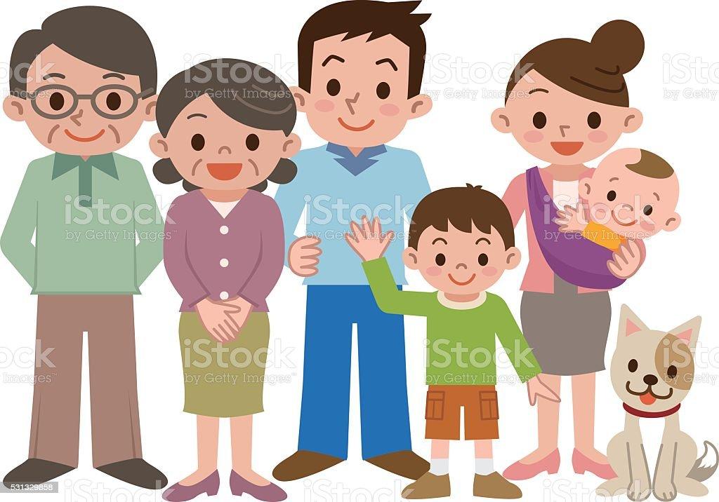 Happy three generation family of smile vector art illustration