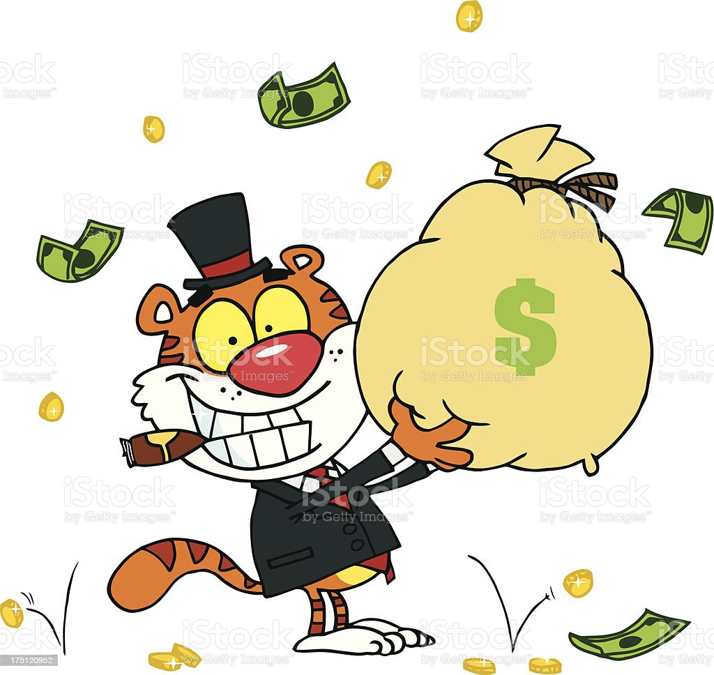 Happy Tiger Businessman Holding А Bag Of Dollars royalty-free stock vector art