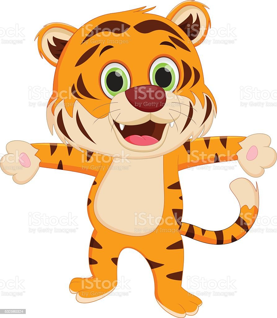 happy tiger cartoon stock vector art 532560324 istock