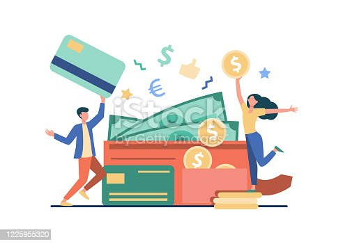 istock Happy tiny man and woman with big open wallet 1225955320