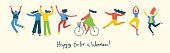 Colorful vector illustration concept of Happy to be a woman . Group of happy female friends, union of feminists, sisterhood jumping, doing sports and walking in flat design