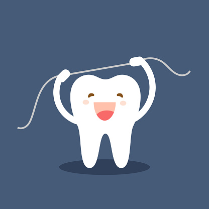 Happy tooth icon. Cute tooth characters. Brushing teeth flossing. Dental personage vector illustration. Oral hygiene, teeth cleaning. Flat illustration on the theme of dentistry. Isolated vector.