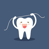 Happy tooth icon. Cute tooth characters. Brushing teeth flossing. Dental personage vector illustration. Oral hygiene, teeth cleaning. Flat illustration on the theme of dentistry. Isolated vector