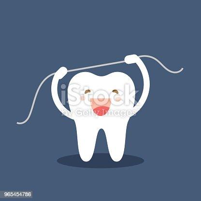 1b3ba713f Vetor de Ícone De Dente Feliz Personagens De Dente Bonito Escovar Os Dentes  Uso Fio Dental Ilustração Em Vetor Personage Dental Higiene Bucal Limpeza  Dos ...