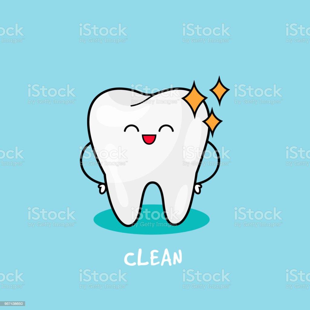 幸せな歯アイコンかわいい歯のキャラクターです子供歯科イラスト口腔歯の