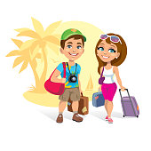 Vector illustration of a happy tourists